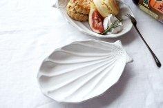 アッシュホワイト シルバーモチーフ 貝がら皿 大