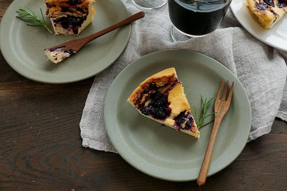 オリーブグリーン ラウンドリム 6寸ケーキ皿