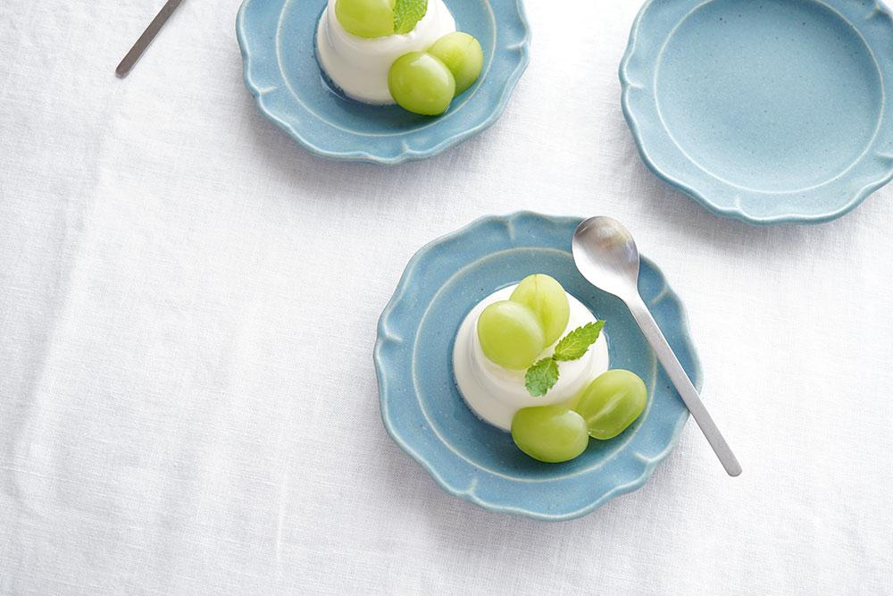 ブルーグレー 洋まる小皿