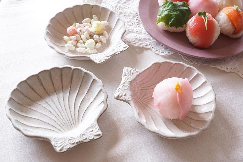アッシュホワイト シルバーモチーフ 貝がら皿 小