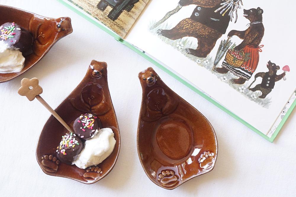 茶色いこぐまのおしゃもじ皿
